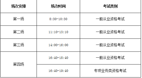 考试科目时间安排
