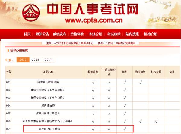 2019年一级注册消防工程师资格证书已印制完成
