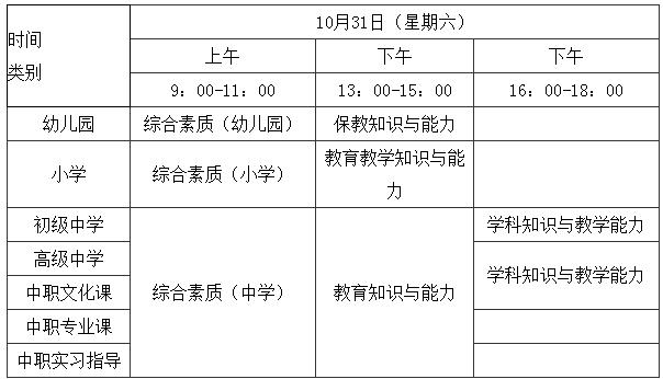 福建省2020年下半年中小学教师资格考试时间
