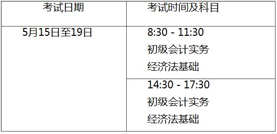 2021年初级会计师考试时间及科目安排